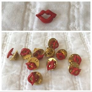 Vintage Overstock Red Lip Smile Pin